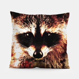 Miniatur raccoon watercolor splatters sepia Pillow, Live Heroes