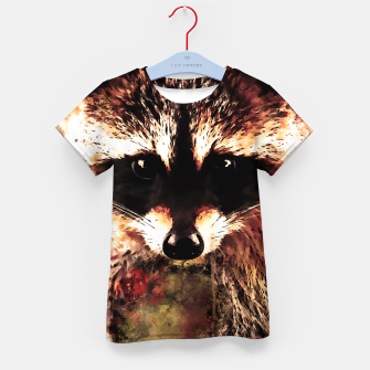 Miniatur raccoon watercolor splatters sepia Kid's t-shirt, Live Heroes