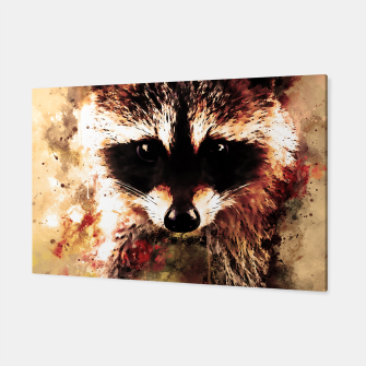 Miniatur raccoon watercolor splatters sepia Canvas, Live Heroes