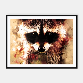 Miniatur raccoon watercolor splatters sepia Framed poster, Live Heroes