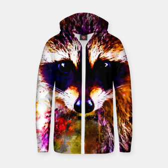 Miniatur raccoon watercolor splatters Zip up hoodie, Live Heroes