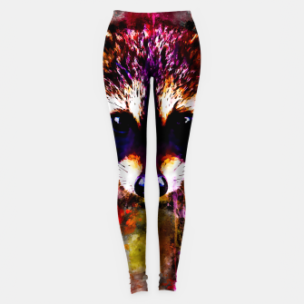 Miniatur raccoon watercolor splatters Leggings, Live Heroes