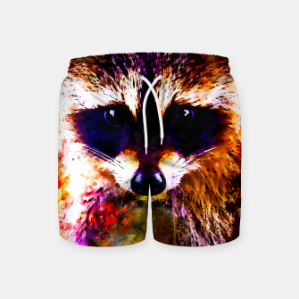 Miniatur raccoon watercolor splatters Swim Shorts, Live Heroes