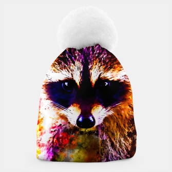 Miniatur raccoon watercolor splatters Beanie, Live Heroes