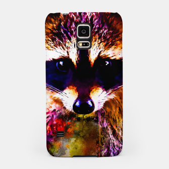Miniatur raccoon watercolor splatters Samsung Case, Live Heroes