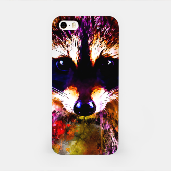 Miniatur raccoon watercolor splatters iPhone Case, Live Heroes
