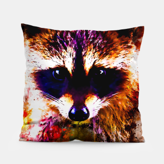 Miniatur raccoon watercolor splatters Pillow, Live Heroes