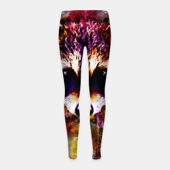 Miniatur raccoon watercolor splatters Girl's leggings, Live Heroes