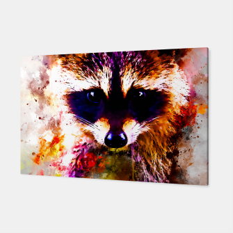 Miniatur raccoon watercolor splatters Canvas, Live Heroes