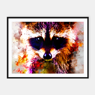 Miniatur raccoon watercolor splatters Framed poster, Live Heroes