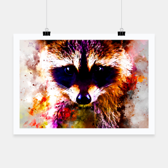 Miniatur raccoon watercolor splatters Poster, Live Heroes