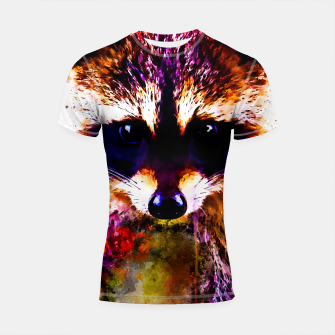 Miniatur raccoon watercolor splatters Shortsleeve rashguard, Live Heroes