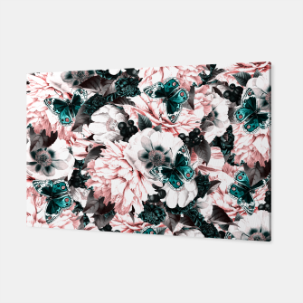 Miniaturka night and day flowers butterflies pattern pink turquoise Canvas, Live Heroes
