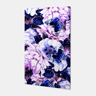 Thumbnail image of night and day flowers butterflies pattern blue purple Canvas, Live Heroes