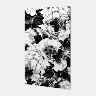 Thumbnail image of night and day flowers butterflies pattern black white Canvas, Live Heroes
