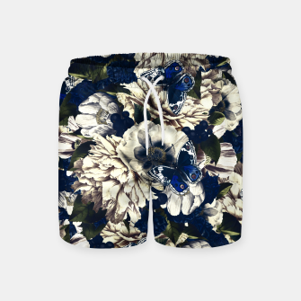 Miniatur night and day flowers butterflies pattern dark foggy Swim Shorts, Live Heroes