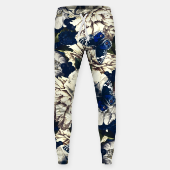 Miniatur night and day flowers butterflies pattern dark foggy Sweatpants, Live Heroes