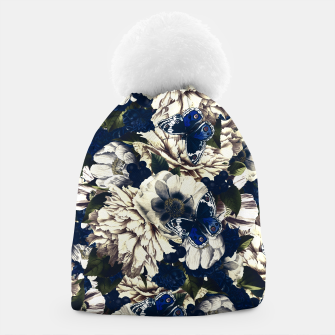 Miniatur night and day flowers butterflies pattern dark foggy Beanie, Live Heroes