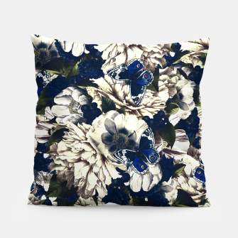 Miniatur night and day flowers butterflies pattern dark foggy Pillow, Live Heroes