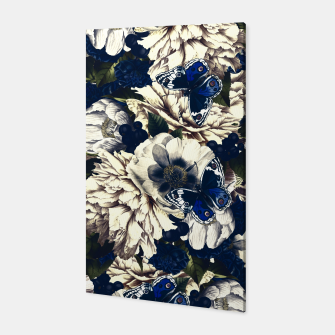 Miniatur night and day flowers butterflies pattern dark foggy Canvas, Live Heroes