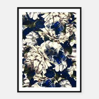 Miniatur night and day flowers butterflies pattern dark foggy Framed poster, Live Heroes