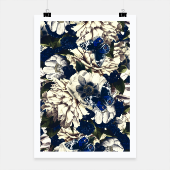 Miniatur night and day flowers butterflies pattern dark foggy Poster, Live Heroes
