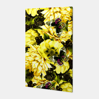 Thumbnail image of night and day flowers butterflies pattern dark yellow Canvas, Live Heroes