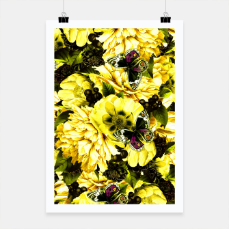 Miniatur night and day flowers butterflies pattern dark yellow Poster, Live Heroes