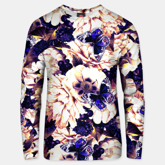 Miniatur night and day flowers butterflies pattern late sunset Unisex sweater, Live Heroes