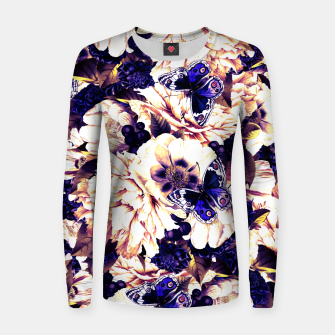 Miniatur night and day flowers butterflies pattern late sunset Women sweater, Live Heroes