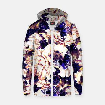 Miniatur night and day flowers butterflies pattern late sunset Zip up hoodie, Live Heroes