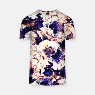 Miniatur night and day flowers butterflies pattern late sunset T-shirt, Live Heroes
