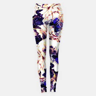Miniatur night and day flowers butterflies pattern late sunset Leggings, Live Heroes