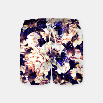 Miniatur night and day flowers butterflies pattern late sunset Swim Shorts, Live Heroes