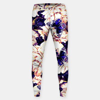 Miniatur night and day flowers butterflies pattern late sunset Sweatpants, Live Heroes