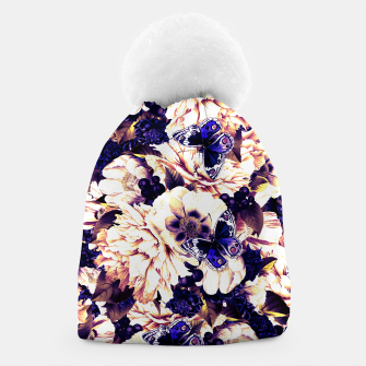 Miniatur night and day flowers butterflies pattern late sunset Beanie, Live Heroes