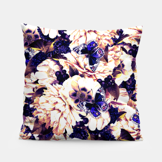 Miniatur night and day flowers butterflies pattern late sunset Pillow, Live Heroes