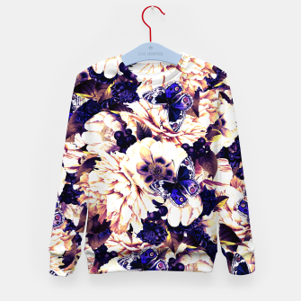 Thumbnail image of night and day flowers butterflies pattern late sunset Kid's sweater, Live Heroes