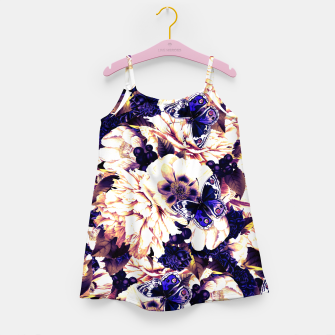 Thumbnail image of night and day flowers butterflies pattern late sunset Girl's dress, Live Heroes