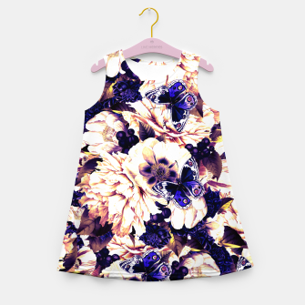 Thumbnail image of night and day flowers butterflies pattern late sunset Girl's summer dress, Live Heroes