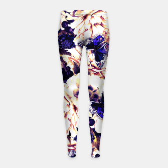 Thumbnail image of night and day flowers butterflies pattern late sunset Girl's leggings, Live Heroes