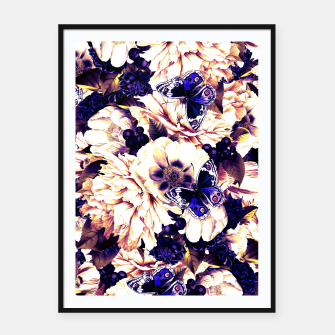 Thumbnail image of night and day flowers butterflies pattern late sunset Framed poster, Live Heroes