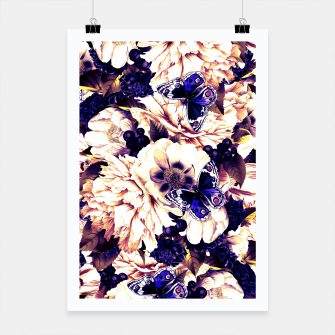 Thumbnail image of night and day flowers butterflies pattern late sunset Poster, Live Heroes