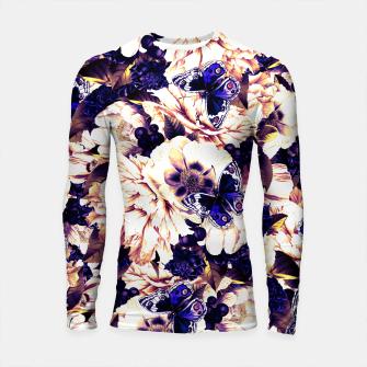 Thumbnail image of night and day flowers butterflies pattern late sunset Longsleeve rashguard , Live Heroes