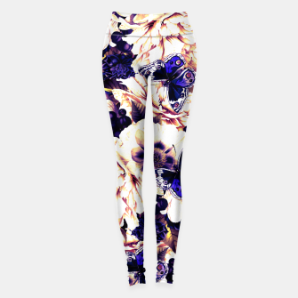 Thumbnail image of night and day flowers butterflies pattern late sunset Leggings, Live Heroes
