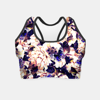Thumbnail image of night and day flowers butterflies pattern late sunset Crop Top, Live Heroes
