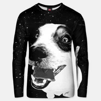 jack russell terrier dog space crazy va bw Unisex sweater thumbnail image