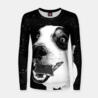 jack russell terrier dog space crazy va bw Women sweater thumbnail image