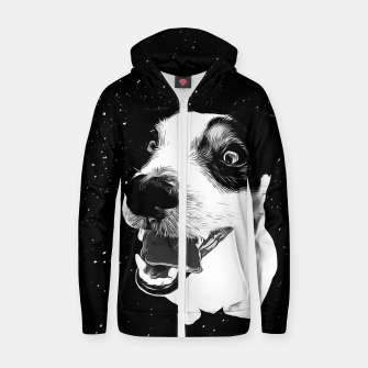 jack russell terrier dog space crazy va bw Zip up hoodie thumbnail image