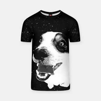 jack russell terrier dog space crazy va bw T-shirt thumbnail image